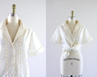 ON SALE 1960's ivory embroidered eyelet blouse