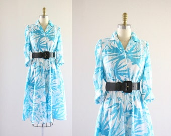 turquoise palms belted dress