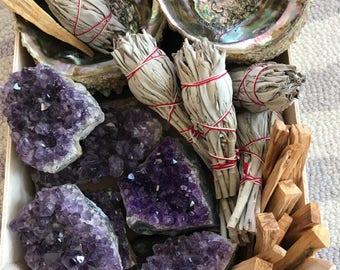 Large Amethyst smudge kit, large abalone shell,  raw Amethyst crystal, white sage bundle, palo santo,reiki, Native American