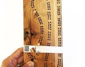 """Cherry Wood Cribbage Board - Optional Engraving - 120 hole Two Track Live Edge Cribbage Board - Two or Four Player - 9-3/4"""" x 4-1/4"""" x 3/8"""""""