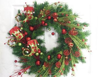 Elf Boot Wreath, Christmas Wreath, Red and Green Wreath, Christmas Decoration, Holiday Wreath, Holiday Decor, Front Door Wreath, Elf Decor