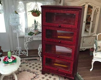 SALE Miniature Bookcase With 4 Glass Doors and Drawer, Mahogany Bookcase, Dollhouse Miniature Furniture, 1:12 Scale, Shelves, Display Cabine