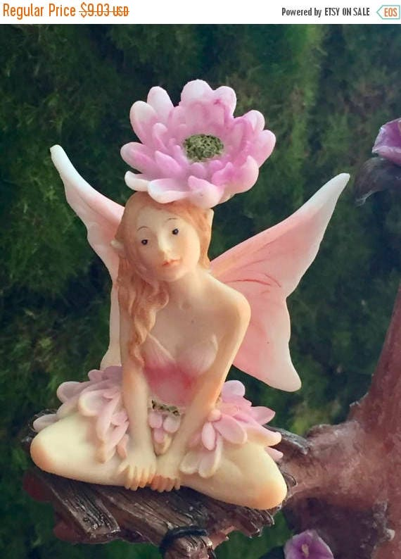 SALE SALE Fairy Figurine, Flower Fairy Collection, Pink and White Wings, Flower on Head, 4545, Fairy Garden Accessory, Mini Gardening