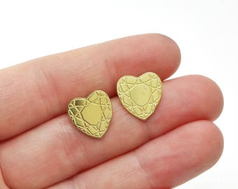 Faceted Heart Brass Post Earrings // LanaBetty