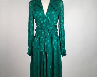 Vintage 70s Christian Dior Cocktail Dress, Emerald Green, Floral, Chiffon, Silk, Couture, Numbered, Made in France, V Neck, B32, W26, Wow!