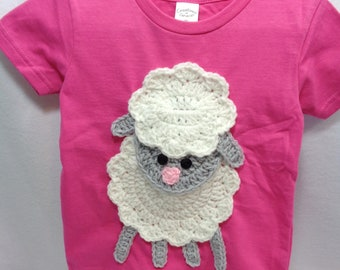 Pink Sheep Shirt, Little Girl Clothes, Gray Lamb Shirt, Size 2T, 3T or 4T available, MADE TO ORDER, Gift for Granddaughter, Easter Shirt