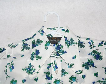 Sweet 70's Poly Floral Blouse with Butterfly Collar- Size S