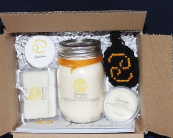 CANCER, Zodiac Gift Set, Sign 16 oz Candle Set, Soy Waxmelts, Astrology Gift, Keychain, Button, Constellation, THE CRAB