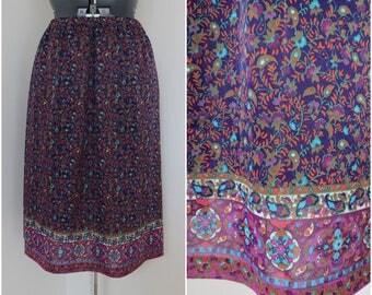 """Vintage 1970s Purple Paisley Print Skirt - Elastic Waist 28-40"""""""
