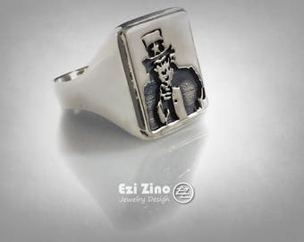 Uncle Sam America Moto Ring Solid Sterling Silver 925 by Ezi Zino