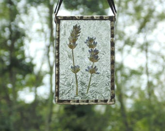 Pressed flower suncatcher, ooak flower terrarium, lavender suncatcher, stained glass, real dried flowers, botanical, pressed flower art