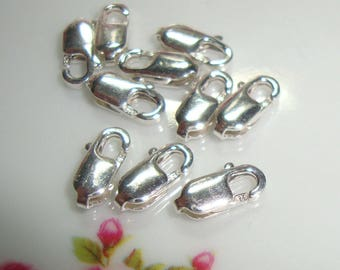 5 pcs, 3x8mm, 925 Stamped Sterling silver Lobster Claw Clasp