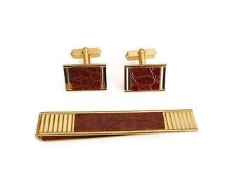 Swank Leather Cufflinks Tie Clip - Faux Crocodile Leather, Gold Tone, Modernist Jewelry, Mens Cufflinks, Vintage Man
