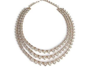 Crystal Rhinestone Necklace, Three Strand, Bib Style, Vintage Necklace, Wedding Bridal Jewelry