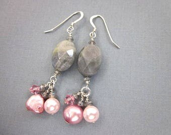 Pink Pearl Bead Earrings -- Pink Cluster Earrings -- Pink & Grey Earrings -- Pink and Grey Bead Earrings -- Labradorite and Pearl Earrings