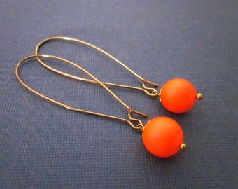 Neon Drops -- Neon Drop Dangles -- Orange Ball Earrings -- Bright Orange Bead Earrings -- Neon Orange Earrings -- Orange Swarovski Pearl