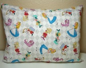 "RESERVED For YAI C. / Travel Pillowcase / 12"" X 16""  Pillow Cover / ALICE in Wonderland Fabric / Alice and Friends Pillowcase"