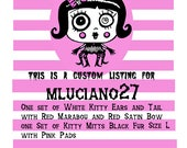 Custom Listing for mluciano27 Cat Ears and Tail Set White with Red Kitty Mitts Black with Pink
