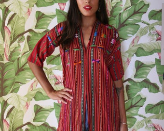 1970's Embroidered Tunic / Hand Embroidered in Guatemala / Swimsuit Cover-up / Bohemian Festival Wear / Red with Fringe / Seventies Boho
