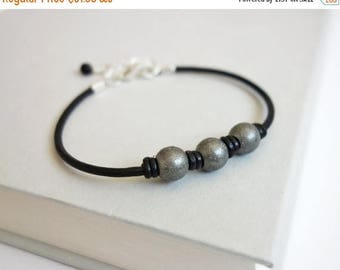 Summer Sale Black leather bracelet metal beads bracelet leather cuff bracelet for men for women
