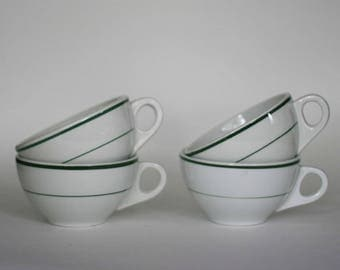 vintage restaurant ware diner cups white and green set of four by shenango and meyer