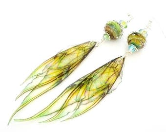 Green Earrings, Fairy Wing Earrings, Fairy Wing Jewelry, Long Dangle Earrings, Lampwork Earrings, Glass Bead Earrings, Unique Earrings