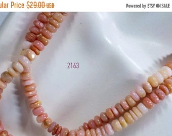 ON SALE Pink Opal Rondelles Smooth Rondels Heishi Tyres Discs Shaded Pink Mined Gemstone - 7 Inch Strand - 48 Beads - 7mm