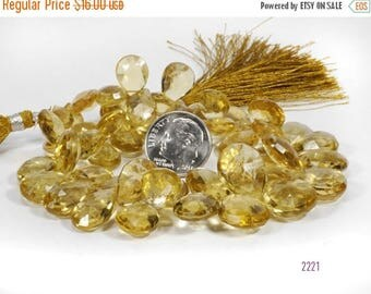 ON SALE Honey Quartz Beads Briolettes Pears Flat Teardrops Beads Mined Quartz -1/4 Strand - 12 Large Beads - 13 x 9 to 16 x 12mm