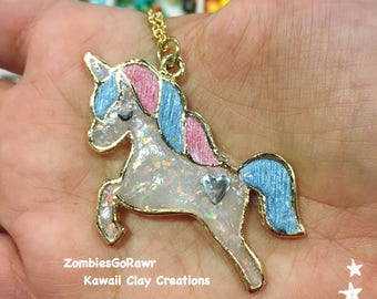 Kawaii Pastel Opal Clay Unicorn Pendant