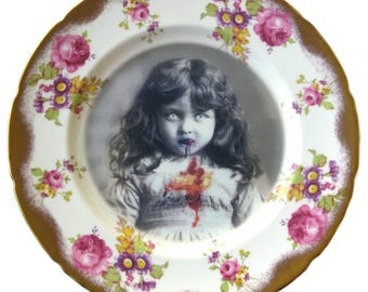 Lucy the Zombie Girl Portrait Plate 9""