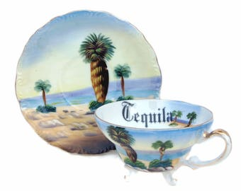 Tequila Altered Vintage Teacup and Saucer