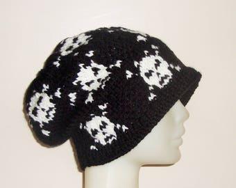 Hand Knit Hat Womens Hat Winter Hat Skull Hat Skull Knit Hat in black white Woman gift for women