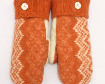 Wool Mittens from Recycled and Felted Sweaters // Fleece Lined // Colorful Orange with Cream Zig Zag Pattern