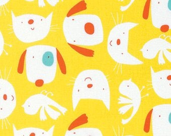 David Walker Fabric Raining Cats and Dogs, Cat Dog and Birds, Yellow Freespirit