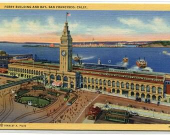 Ferry Building Bay San Francisco California linen postcard