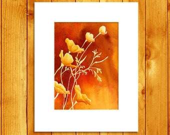 California Poppy Flower Art Country Decor, Burnt Orange Original Watercolor Poppy Painting Kitchen Decor, Watercolor Flowers Rustic Decor