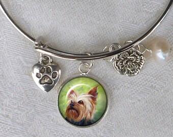 CUSTOM Pet Charm Bracelet ~ Girlfriend Gift ~ Dog Bracelet ~ Sweetheart Birthday ~ Wire Bangle ~ Pet Jewelry