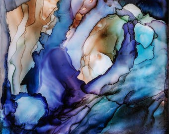 Contemporary Abstract Art Work with Blues, Cremes and Purples 24 x 24. Artwork is applied to 1/4 inch UV Plexi-Glass Front