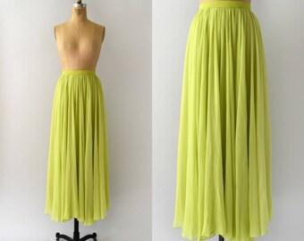 Vintage 1970s Skirt - 70s Lime Green Chiffon Maxi Skirt