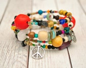 Funky Potpourri Boho Bangle, Adjustable Bracelet, Bohemian Jewelry, Salt Life