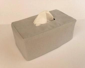 Gray Linen Rectangle Reversible Tissue Box Cover