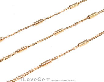 WSALE / 10M / BC-006 Rose Gold plated, 135S Curb Chain with 4mm pipe, Unique Chain, Design Chain, Necklace Chain, Bracelet chain