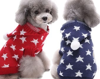Christmas Star Pet Dog Warm Knit Hat Sweater Clothes Party Outwear Costume