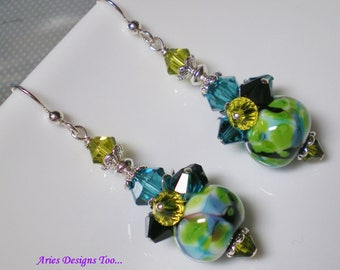 Abstract Lime Green,Turquoise and Black Lampwork Earrings, Cluster Earrings in Green, Turquoise and Black