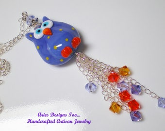 Owl Lampwork Pendant Necklace on Sterling Silver Chain