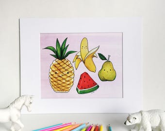 Happy Fruits on Pink, Silly Food Art