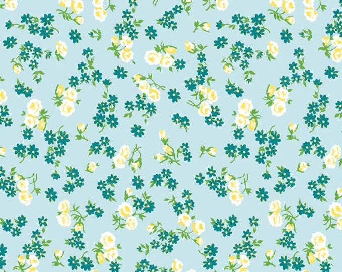 Dainty Darling Fabric by Lindsay Wilkes from The Cottage Mama for Riley Blake Designs and Penny Rose Fabrics - Blue Floral