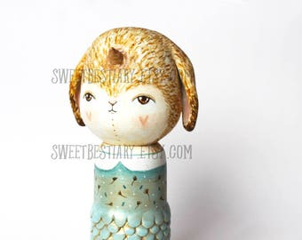 Bunny unicorn mermaid kokeshi OOAK altered wooden doll
