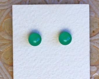 Fused Glass Earrings, Petite, Jade Green DGE-1170