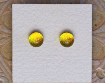 Dichroic Glass Earrings, Canary Yellow  DGE-1178